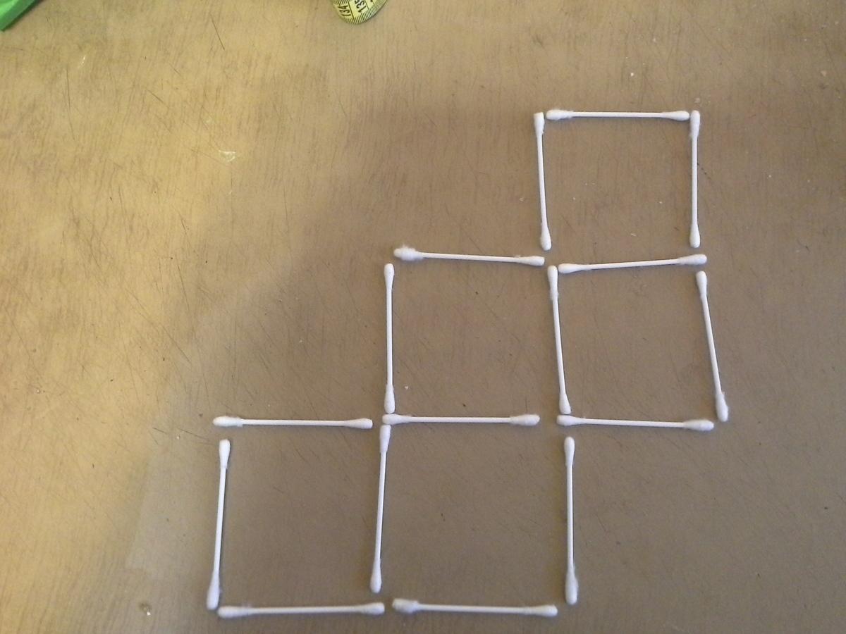 Как из 7 палочек сделать 2 квадрата и 5 треугольников